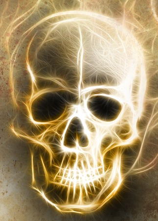 metaphysical: Skull and fractal effect. Color background, computer collage Stock Photo