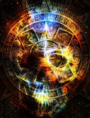 Ancient Mayan Calendar and skull in cosmic space with stars, abstract color Background