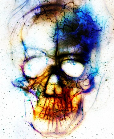 Skull and fractal effect. Color abstract background, computer collage Stock Photo