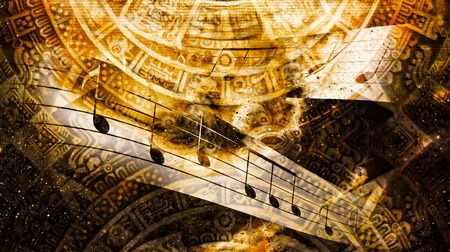 Ancient Mayan Calendar and  Music note, Cosmic space with stars, abstract color Background, computer collage Stockfoto