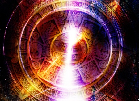 mayan calendar: Ancient Mayan Calendar and light circle effect, abstract color Background, computer collage