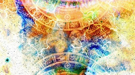 mayan calendar: Ancient Mayan Calendar, Cosmic space and stars, abstract color Background, computer collage Stock Photo