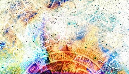 Ancien calendrier maya, résumé couleur de fond, ordinateur collage