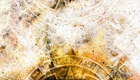 mayan calendar: Ancient Mayan Calendar and  Cosmic space with stars