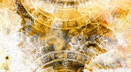 Ancient Mayan Calendar and  Cosmic space with stars
