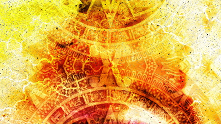 Ancient Mayan Calendar, Cosmic space and stars, abstract color Background, computer collage Stock Photo