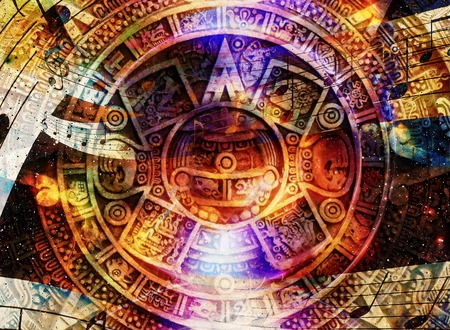Ancient Mayan Calendar and  Music note, Cosmic space with stars, abstract color Background, computer collage Stock Photo