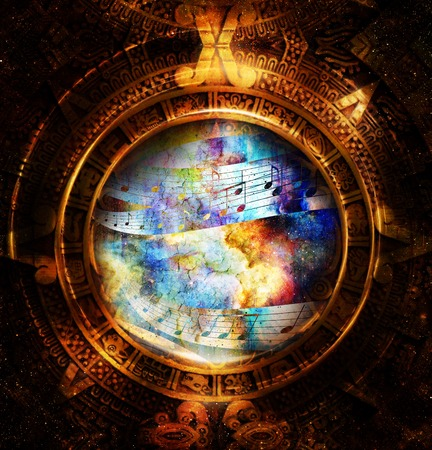 mayan calendar: Ancient Mayan Calendar and  Music note, Cosmic space with stars, abstract color Background, computer collage Stock Photo