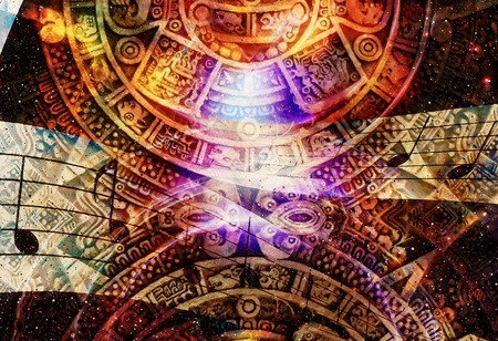 calendar background: Ancient Mayan Calendar and  Music note, Cosmic space with stars, abstract color Background, computer collage Stock Photo