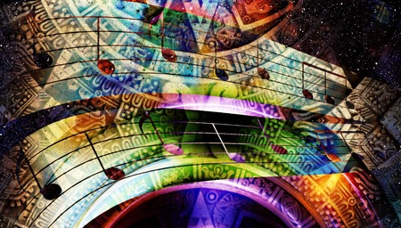 light circular: Ancient Mayan Calendar and  Music note, Cosmic space with stars, abstract color Background, computer collage. light circular in space