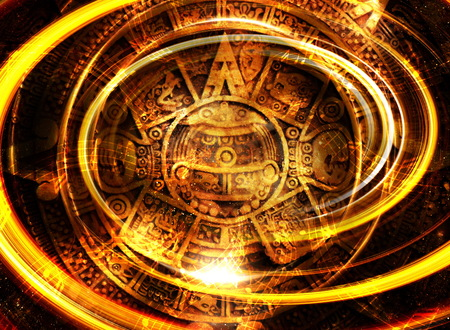 psyche: Ancient Mayan Calendar and  Music note, Cosmic space with stars, abstract color Background, computer collage Stock Photo