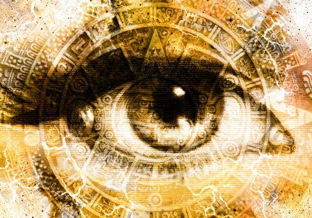 고대 마야 달력와 여자의 눈, 추상적 인 색 배경, 컴퓨터 콜라주