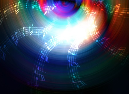 psyche: silhouette of music Audio Speaker and note, abstract background, Light Circle. Music concept Stock Photo