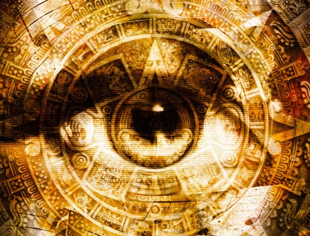 visions of america: Ancient Mayan Calendar and woman eye with  Music note, abstract color Background, computer collage
