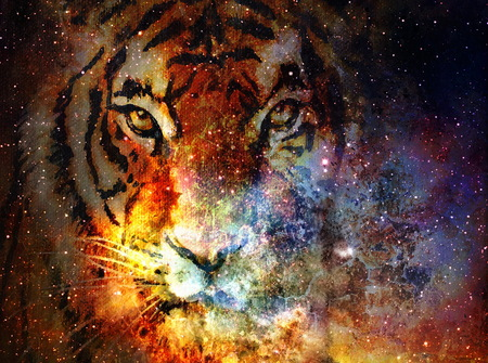 original art, mixed media painting of celestial tiger