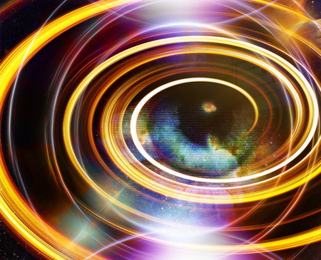 modern existence: Woman Eye and music note and cosmic space with stars. abstract color background, and yellow light, fire circle. eye contact