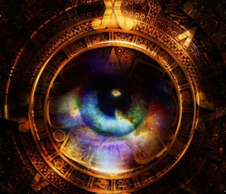 Calendario maya antigua, Y ojo de la mujer, el espacio cósmico con estrellas, fondo de color abstracto, collage ordenador. círculo efecto de luz