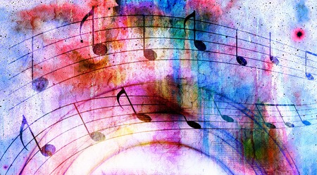 metaphysical: Illustration of grunge retro musical background with notes.