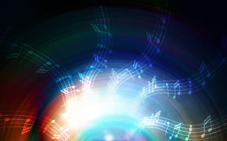 metaphysical: silhouette of music Audio Speaker and note, abstract background, Light Circle. Music concept Stock Photo
