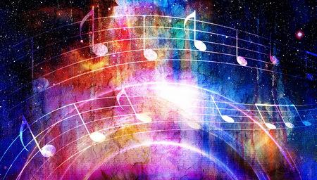 nota de la música y del Espacio y las estrellas con color de fondo abstrtact