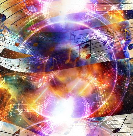 note de musique et la musique silhouette haut-parleur et de l'espace avec étoiles. abstrait couleur. concept de Musique