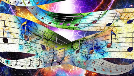 DAnce background: music note and silhouette music speaker and Space with stars. abstract color background. Music concept Stock Photo