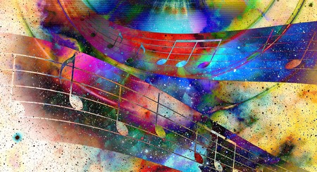 abstract music: music note and  Space with stars. abstract color background. Music concept Stock Photo