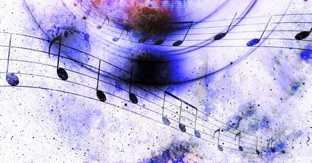 grubby: Illustration of grunge retro musical background with notes Stock Photo