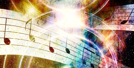 metaphysical: music note and abstrtact color background. spots background