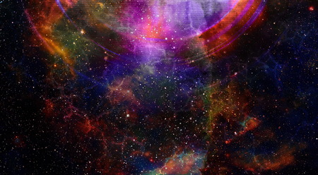 Cosmic space and stars with light circle, color cosmic abstract background