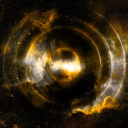 space: Audio music Speaker in space. Cosmic space and stars, abstract cosmic background, space music, music concept