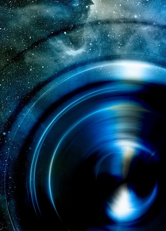 metaphysical: Audio music Speaker with color effect. Cosmic space and stars, cosmic abstract background