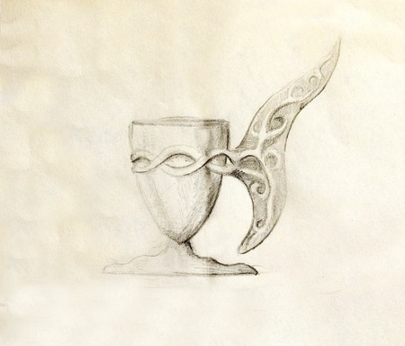 Drawing vintage goblet, draw on old paper