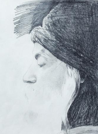 guru: Drawing on paper ,Osho, zen budhistic guru