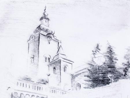 lapiz y papel: lápiz iglesia bosquejo, dibujo en papel de época Foto de archivo
