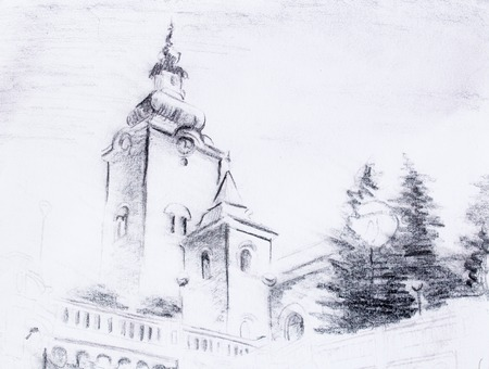 pencil sketch church, drawing on vintage paper