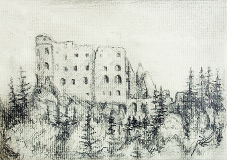 fort: middle castle pencil drawing in forest, on old paper..
