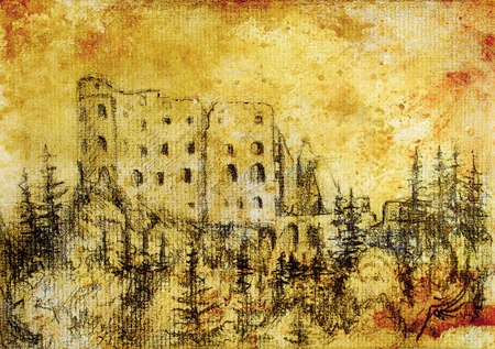 burg: middle castle in forest drawing on old paper and vintage sepia structure