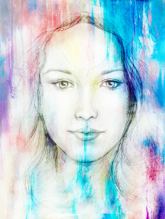 eye contact: Drawing portrait Young woman with ornament on face, color painting on abstract background, computer collage. Eye contact