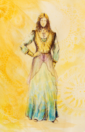 mystical woman: sketch of mystical woman  in beautiful ornamental dress  inspired by middle age design, with ornamental pattern on background