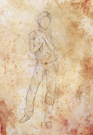 standing figure: Standing figure woman leaning on a stick, pencil sketch on paper