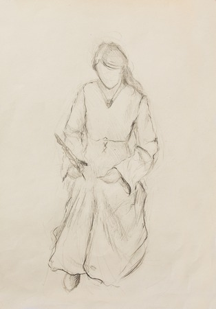 classic authors: Sketch of woman in historical dress, writing quill pen