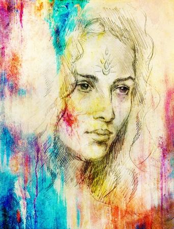 Zeichnung Porträt der jungen Frau mit Ornament auf Gesicht, Farbmalerei auf abstrakten Hintergrund, Computer-Collage