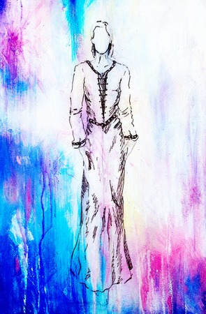 mystical woman: sketch of mystical woman  in beautiful ornamental dress  inspired by middle age design, with color spots background