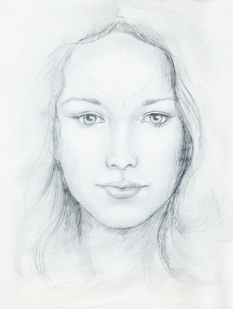 eye contact: Drawing portrait Young woman with ornament on face, black and white. Eye contact
