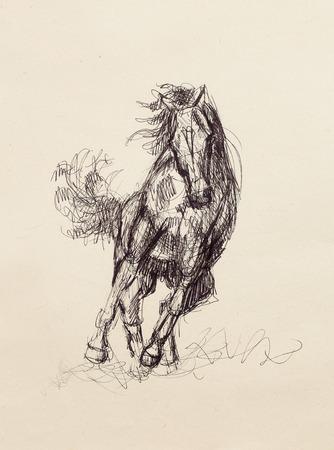 Dessinez crayon cheval sur le vieux papier, tirage de la main originale