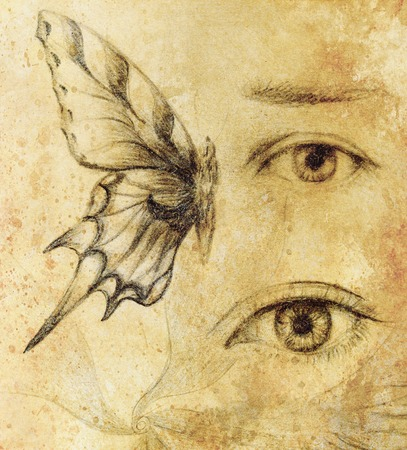 coldly: Woman eye and butterfly, Drawing on vintage paper