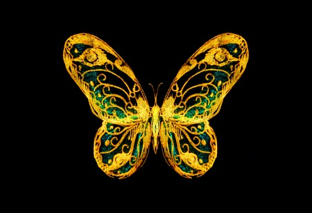 metaphysical: light yellow and tirkys color butterfly on black bckground