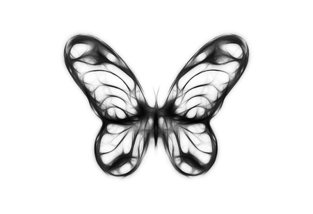 medium: illustration of a butterfly, mixed medium, black and white color Stock Photo