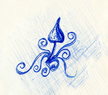 health symbols metaphors: pen drawing on old paper and ornament, sketch psychedelic mushroom